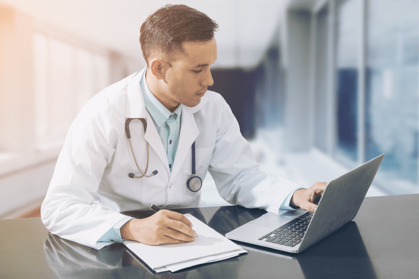 doctor using telehealth software